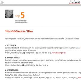 Kurier: Top 5 Würstelstände in Wien