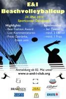 Plakat E & I Beachvolleyballcup mit Sponsor Würstelstand LEO