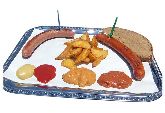 Cheese Krainer, Bratwurst, Wedges