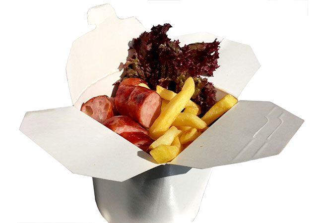 LEO Würstelbox: Käsekrainer und kleine Pommes