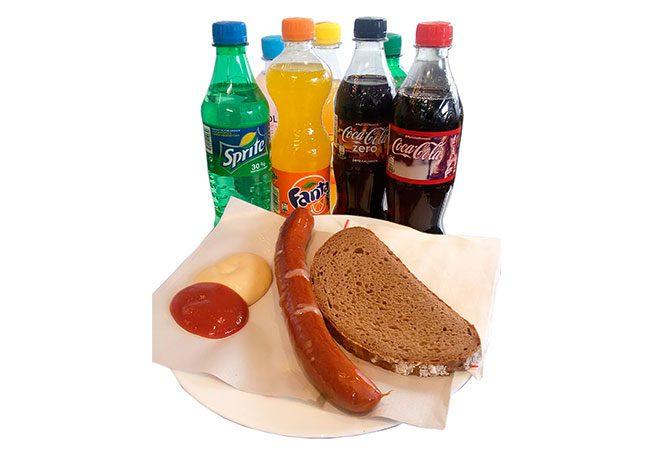 Leomenü 1, Käsekrainer + Brot + 0,5l Softdrink
