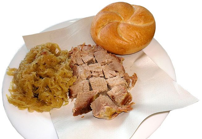 Roast Pork with Sauerkraut and roll