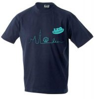 Neues Design für das LEO Tshirt in nachtblau mit türkisem Aufdruck in Kooperation mit der Modeschule Michelbeuern